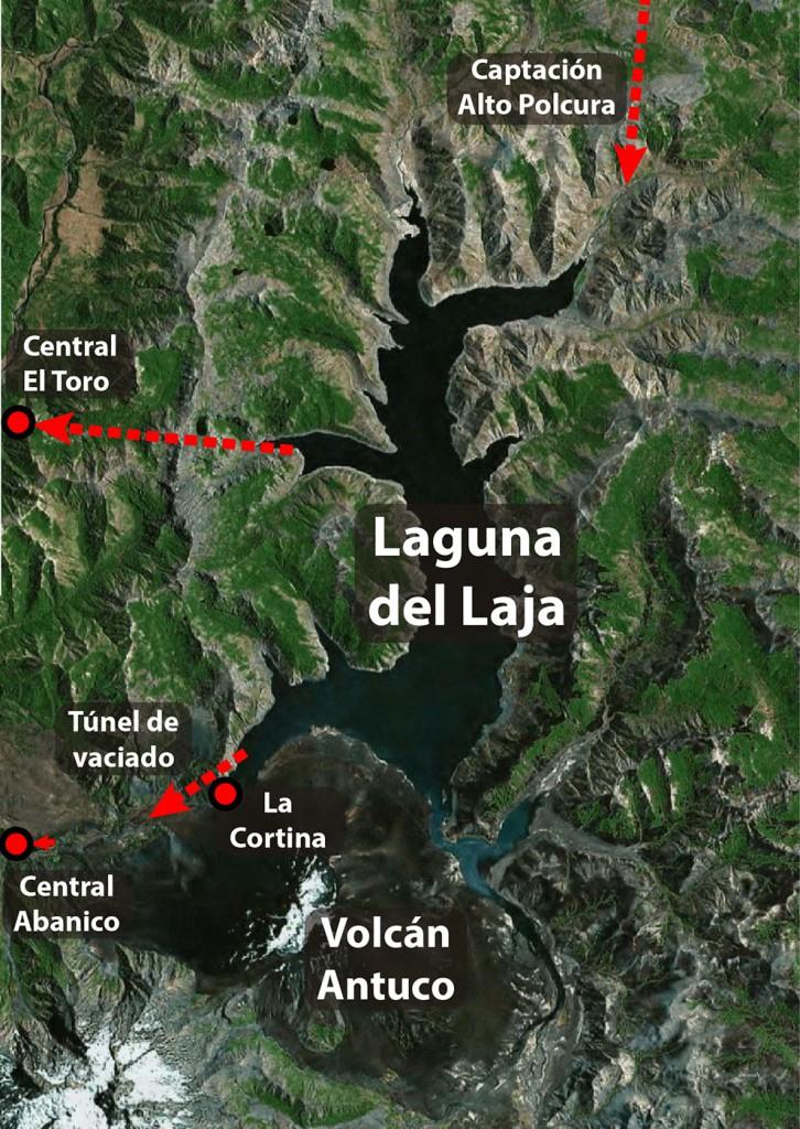 Intervenciones sobre la Laguna del Laja que transformaron a esta gran Laguna en el embalse más grande de Chile.